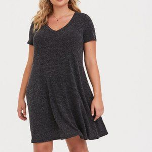 Torrid Grey V-neck Trapeze Sweater Dress
